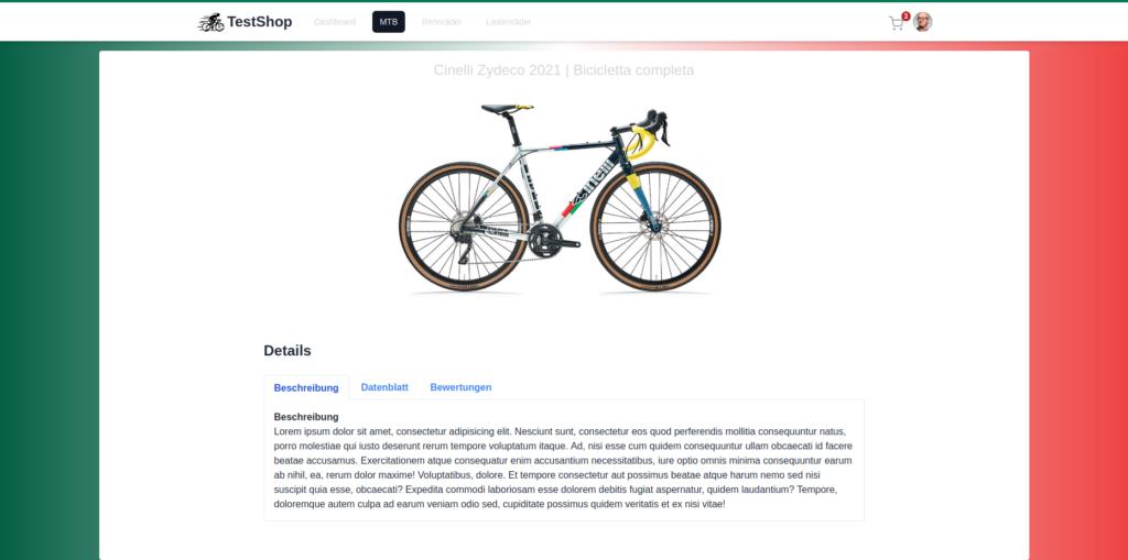 Test Shop Seite gebaut mit TailwindCSS und Alpine.js.