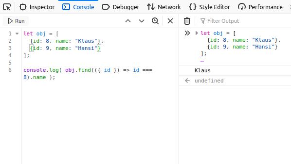 Javascript – Die geschweifte Klammer in der Funktions Parameterliste
