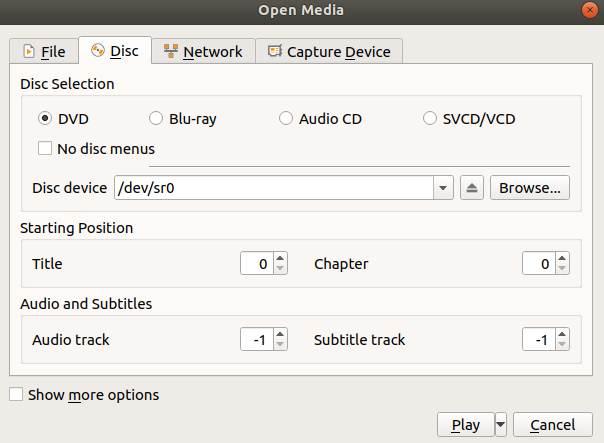 Ubuntu VLC Player DVD spielt nicht ab