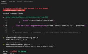 """Laravel Test möglicher Fehler – Unknown formatter """"name"""""""